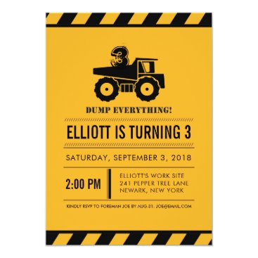 Dump Truck Birthday Party Invites