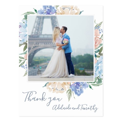 Dusty Blue Florals Photo Thank You Postcard
