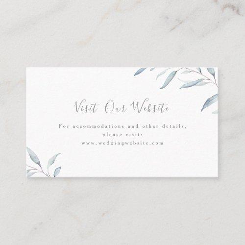 Dusty blue greenery wedding website Insert card