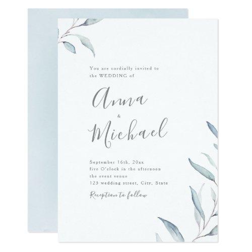 Dusty blue watercolor botanical greenery wedding invitation