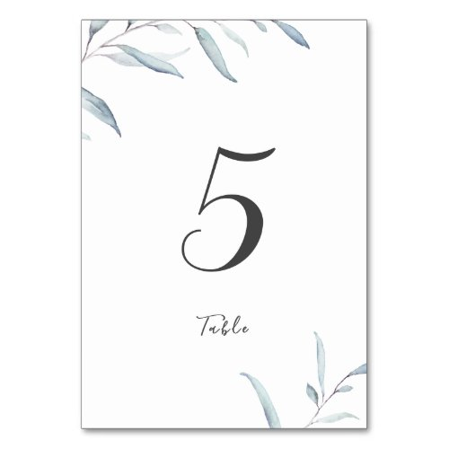Dusty blue watercolor greenery table card