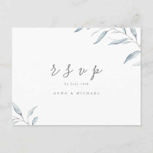 Dusty blue watercolor greenery wedding RSVP Invitation Postcard