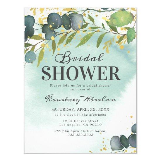 Dusty Eucalyptus Gold Bridal Shower Invitation