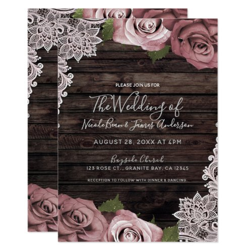 Dusty Pink Floral Roses Rustic Wood &amp&#x3B; Lace Wedding Invitation