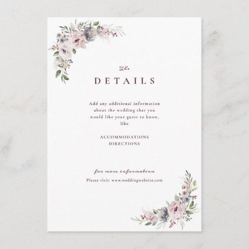 Dusty pink floral rustic boho weding details enclosure card