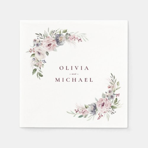 Dusty pink watercolor floral rustic boho wedding napkin