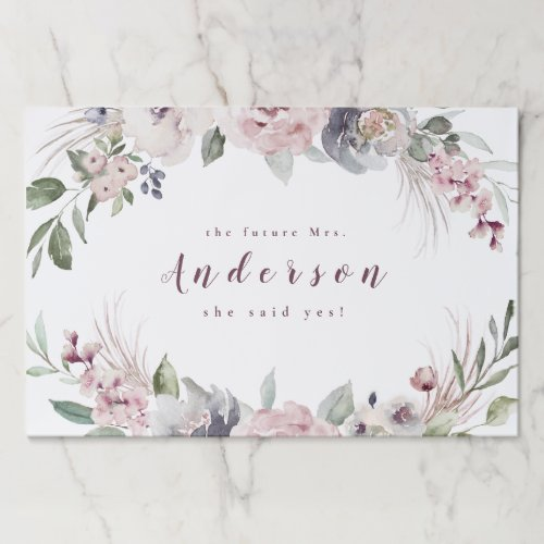 Dusty pink watercolor floral rustic boho wedding paper placemat