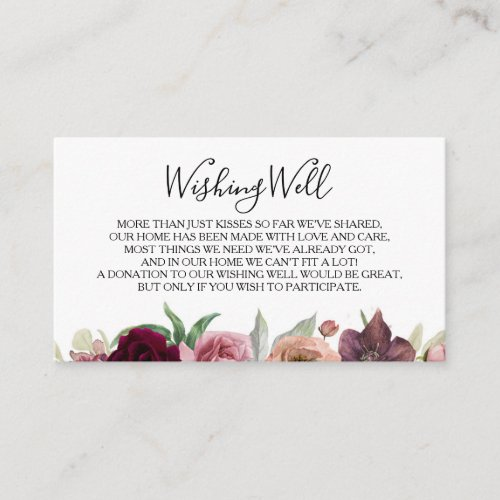 Dusty Rose Floral Wedding Wishing Well Enclosure Card