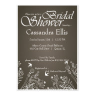 Earthy Brown Classy Flourishes Bridal Shower Invitation