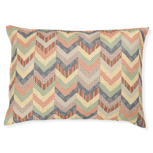 Earthy Chevron Borders Large Dog Bed
