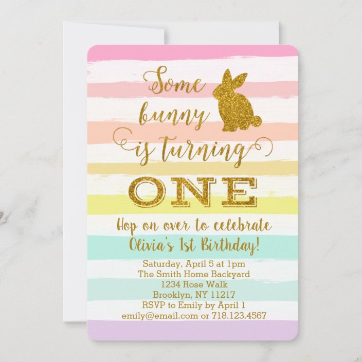 easter bunny 1st birthday invitation some bunny zazzle com