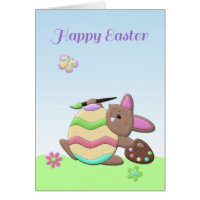 Easter Bunny, Painting Egg, Happy Easter Card