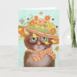 Easter Cat in Easter Bonnet with Butterflies Holiday Card
