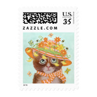 Easter Cat in Easter Bonnet with Butterflies Postage