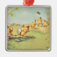 Easter Chick Butterfly Farmyard Metal Ornament
