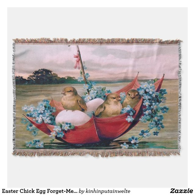 Easter Chick Egg Forget-Me-Not Umbrella Throw Blanket