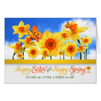 Easter Daffodil Garden with Butterflies Card