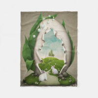 Easter Egg Rabbits Small Fleece Blanket