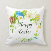 Easter Eggs Spring Flowers and Butterflies Wreath Throw Pillow