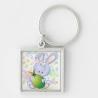 Easter Rabbit with Egg and Flowers Keychain