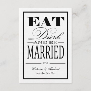 Eat Drink and be Married - Linen Paper RSVP
