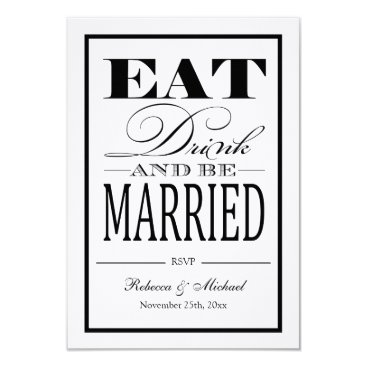 Eat Drink and be Married - Linen Paper RSVP Card