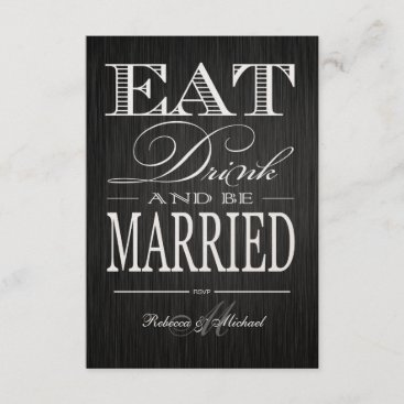 Eat Drink and be Married - Metallic Champagne RSVP Card