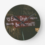 Eat, Drink and Be Married - Save the Date or Weddi Round Wallclock