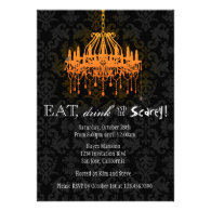 Eat Drink and Be Scarey Elegant Damask Chandelier Custom Invite
