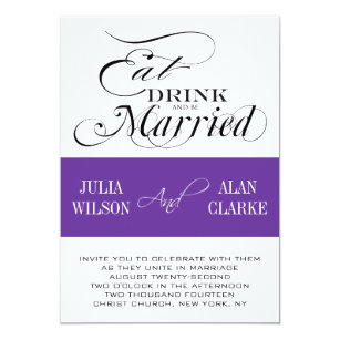 Eat Drink Be Married Wedding Invitations Purple