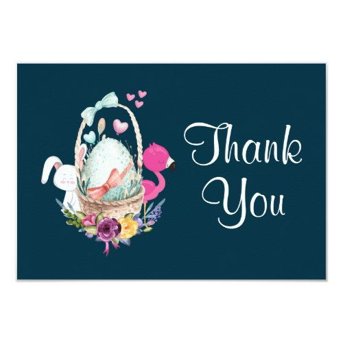 Egg in a Basket with Flamingo and Bunny Thank You Invitation