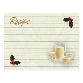 eggnog recipe card postcards