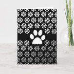 Elegant Black & White Paw Print Thank You Card