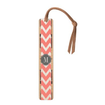 Eleagnt coral pink and White Chevron with Monogram Bookmark