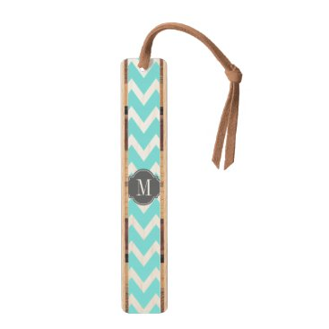 Eleagnt teal blue and White Chevron with Monogram Bookmark