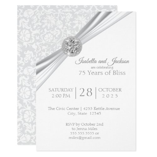 Elegant 75th / 60th Diamond Anniversary Design Invitation