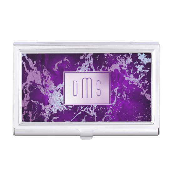 Elegant Abstract Purple Molten Silver Monogram Business Card Case