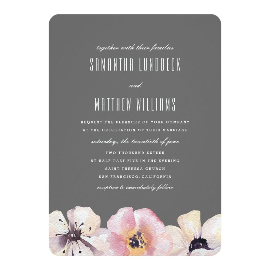 Elegant Anemone Dark Grey | Wedding Invitation