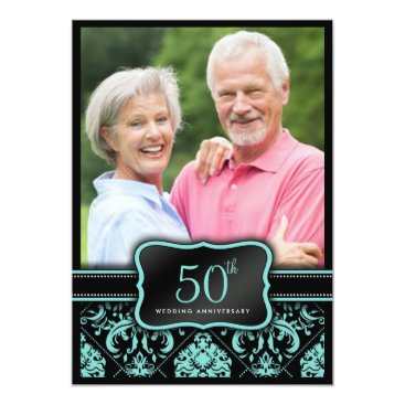 Elegant Aqua Blue and Black Damask 50th Wedding Invitation