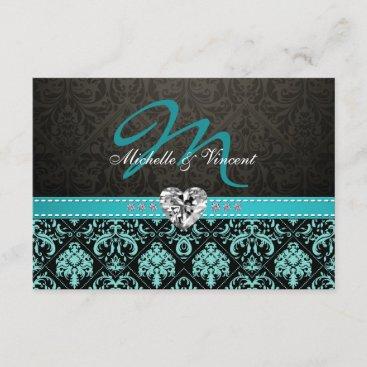 Elegant Aqua Blue and Black Damask Monogram RSVP