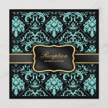 Elegant Aqua Blue and Black Damask Reception Only Invitation