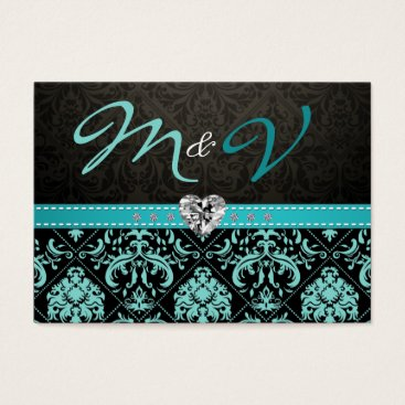 Elegant Aqua Blue and Black Damask RSVP Business Card