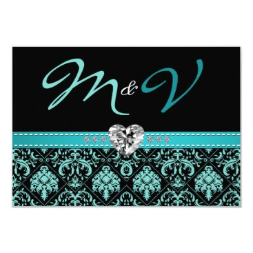Elegant Aqua Blue and Black Damask with Diamonds Card