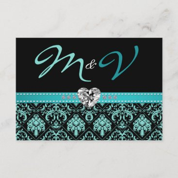 Elegant Aqua Blue and Black Damask with Diamonds RSVP Card