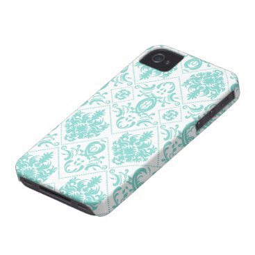 Elegant Aqua Blue and White Damask Patterns iPhone 4 Case-Mate Case