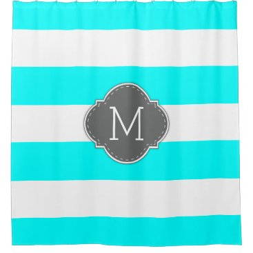 Elegant Aqua Blue and White Stripes with Monogram Shower Curtain