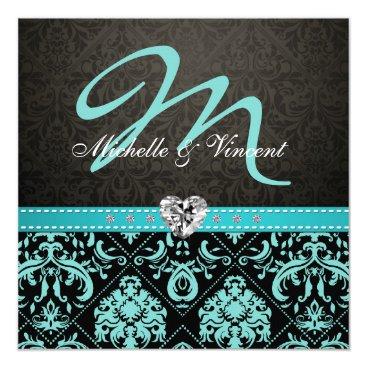 Elegant Aqua Blue / Black Damask Monogram Invites