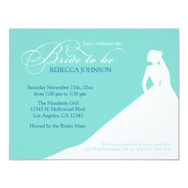 Elegant aqua blue 'Bride to Be' bridal shower Invitation