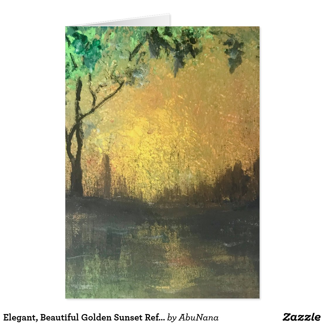 Elegant, Beautiful Golden Sunset Reflection Card