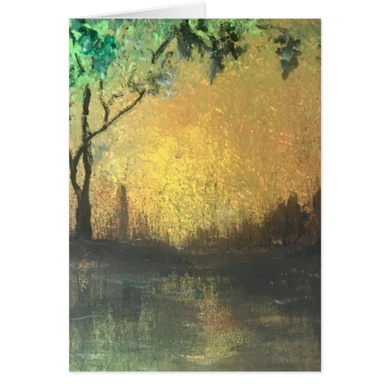 Elegant, Beautiful Golden Sunset Reflection Card
